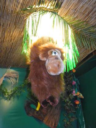Überall hängen Affen von der Decke