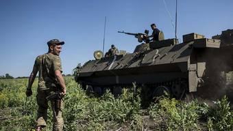 Vermintes Gebiet: Ukrainische Soldaten unterwegs in der Region um Donezk