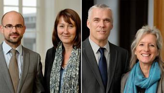 Die neuen Mitglieder des Kirchenrats, Olivier Dinichert und Claudia Chapuis, im rechten Bild Synodenpräsidentin Bernadette Bernasconi und Vize Marcel Baumgartner.