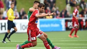 Wie vor drei Jahren fordert Luca Ladner und und der FC Baden den FC St. Gallen in der ersten Runde des Helvetia Schweizer Cups. Foto: Alexander Wagner.
