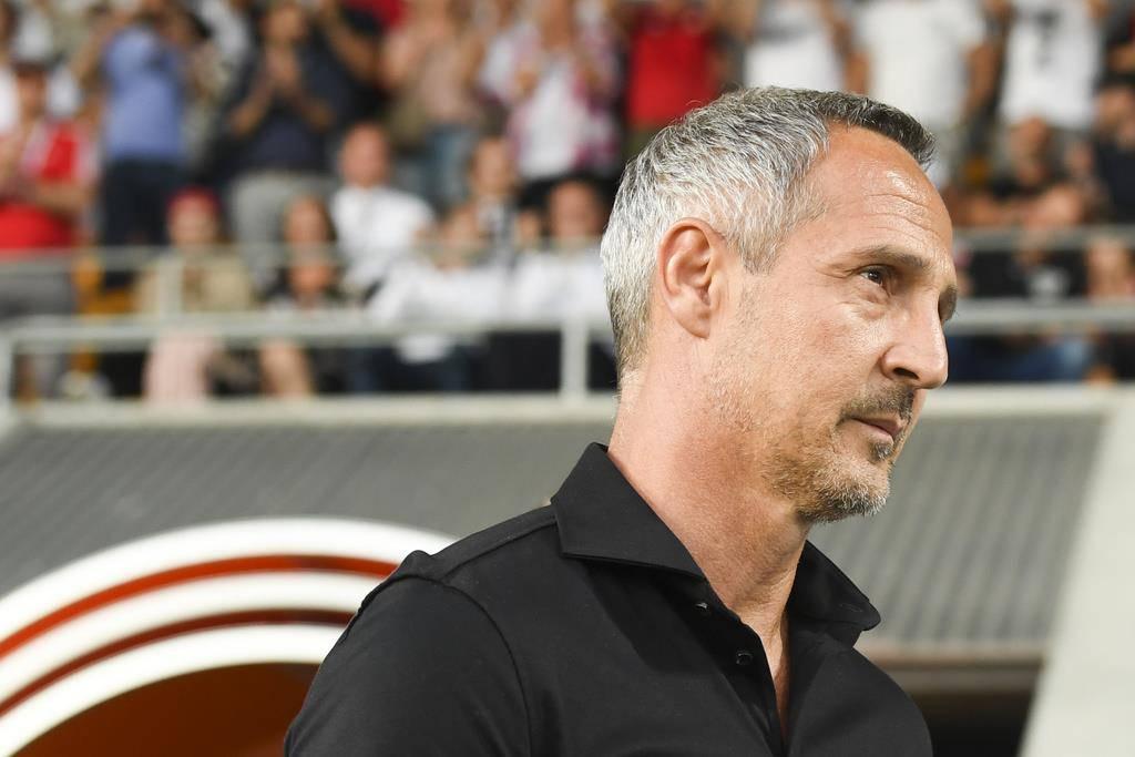 Frankfurt Trainer Adi Hütter darf mit dem Hinspiel gegen den FC Vaduz zufrieden sein. (© Keystone)