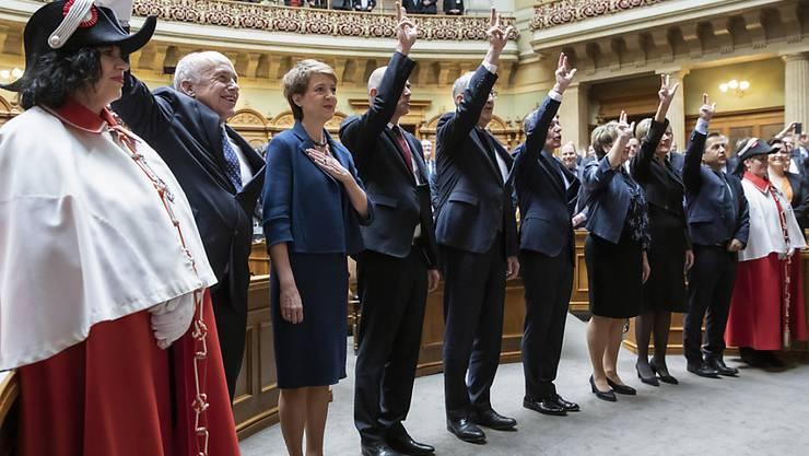 Am Mittwoch ist der Gesamtbundesrat für die Amtszeit 2020 bis 2023 vereidigt worden. Alle Mitglieder der Landesregierung bleiben ihren Departementen vorerst  treu. (Archivbild)