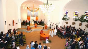 Feierliche Stimmung in der neu renovierten römisch-katholischen Kirche in Winznau am Palmsonntag.