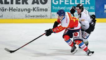 Der EHC Basel (in Weiss) hatte gegen Dübendorf das Nachsehen.