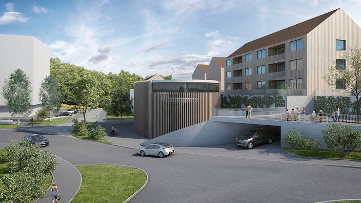 Mit futuristischem Design: So könnte der ovale Gemeindesaal im Zentrum von einst Rudolfstetten-Friedlisberg aussehen.