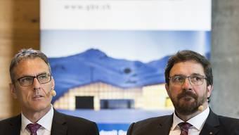 Geschäftsführer Andreas Felix (links) und Präsident Markus Derungs an der Generalversammlung des Graubündnerischen Baumeisterverbandes: Demut war angesagt.