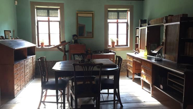 Goethes Arbeitszimmer: Dunkelgrüne Konzentration.