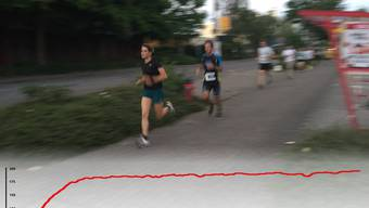 Beim 12-Minuten-Lauf (Cooper-Test) wird die maximale Sauerstoffaufnahme anhand jener Strecke berechnet, die man in zwölf Minuten maximal zurücklegen kann. Die Grafik zeigt die Herzfrequenz von Xenia Fischer bei ihrem 12-Minuten-Lauf.