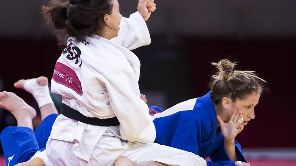 Der Moment der Enttäuschung: Fabienne Kocher (re.) verliert den Kampf um Bronze gegen die Britin Chelsie Giles