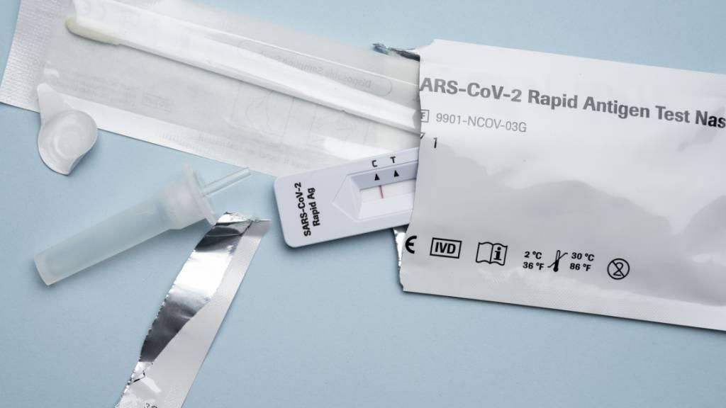 Die Komponenten eines Coronavirus-Antigen-Selbsttests. (Archivbild)