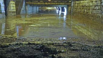Die Unterführung Henzmannstrasse stand fast komplett unter Wasser. EW/Archiv