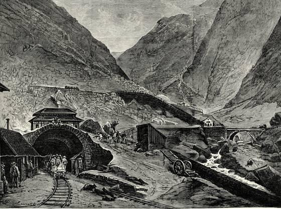 Ein Kupferstich vom Bau des Gotthardtunnels in der Nähe von Göschenen aus dem Jahre 1882. Bild: Getty