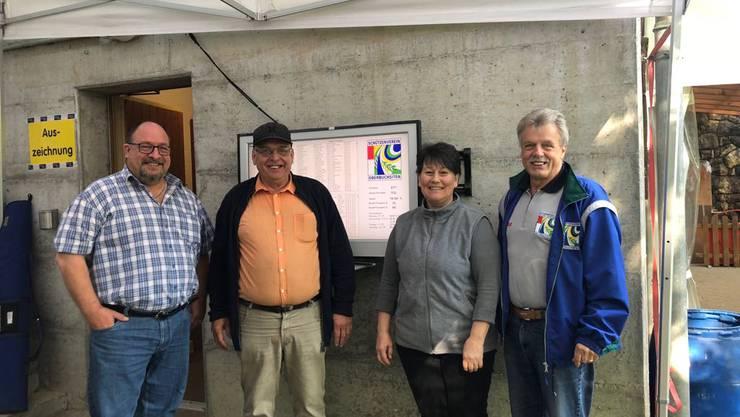 Organisationsteam 2018: Toni Eggenschwiler, Präsident; Heinz Stalder, Obmann; Regina Stalder, Schützenstubenwirtin; Fritz Lüdi, Obmann Alte Garde (von links) Bild von Kuno von Wartburg.