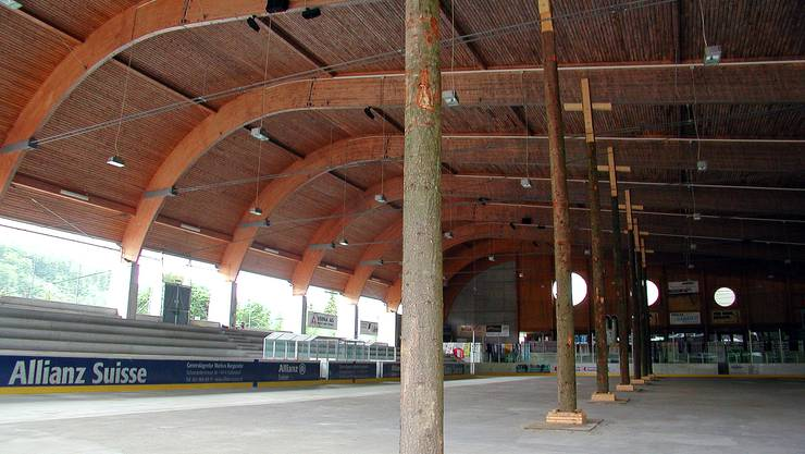 Das Komitee will das Dach mittels Metallgerüst am Rand abstützen, um den Eisbetrieb zu ermöglichen.