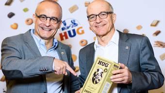 Andreas und Werner Hug bei der Präsentation einer Jubiläumspackung zum 140-Jahr-Jubiläum.MANUEL LOPEZ/Keystone