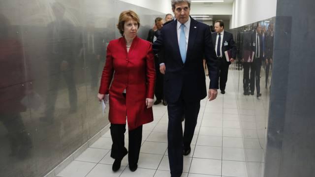 EU-Aussenbeauftragte Ashton mit US-Aussenminister Kerry (Archiv)