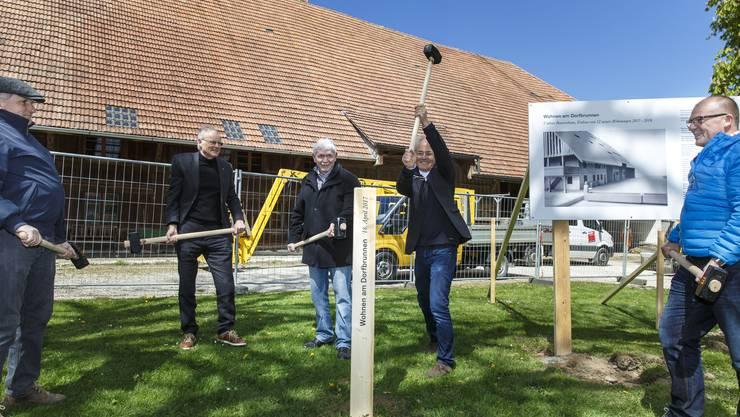 Statt eines Spatenstichs wurde sinnbildlich ein Pflock eingeschlagen: Herbert Schluep (Gemeindepräsident, links), Ernst Hürlimann (Präsident Wohnbaugenossenschaft), Jürg Hofer (Kassier Wohnbaugenossenschaft), Guido Kummer (Architekt) und Beat Bader (Bader Holzbau AG, Aedermannsdorf, rechts).
