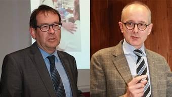 Krebsliga-Präsident Andreas Eng (links) und Gastreferent Thomas Egger.