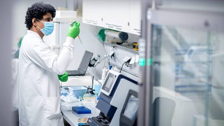 HANDOUT - Ein Mitarbeiter des Biotechnologie-Unternehmens Biontech arbeitet in einem Labor.   (zu dpa «Kurz vor Antrag für Corona-Impfstoff: Biontech legt Zahlen vor») Foto: Biontech/dpa - ACHTUNG: Nur zur redaktionellen Verwendung im Zusammenhang mit der aktuellen Berichterstattung und nur mit vollständiger Nennung des vorstehenden Credits