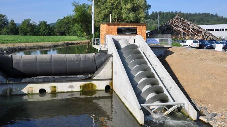 Kleinwasserkraftwerk in Hirschthal mit Archimedesschnecke dient als Vorbild für weitere Kraftwerke.