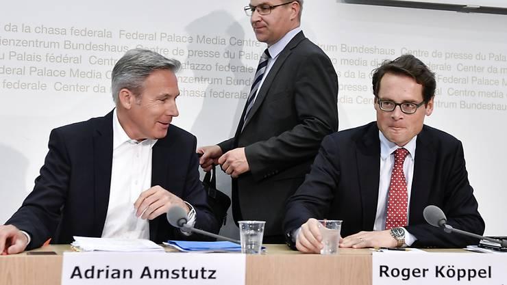 Sie werben für ein Nein zur Asylreform: SVP-Fraktionschef Adrian Amstutz, Parteipräsident Toni Brunner und der Zürcher Nationalrat Roger Köppel (von links).
