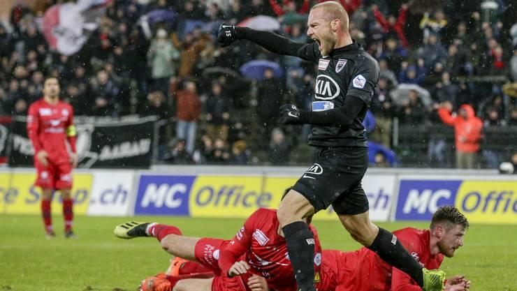 Schneuwly rettete dem FC Aarau mit seinem Doppelpack gegen Winterthur einen Punkt.