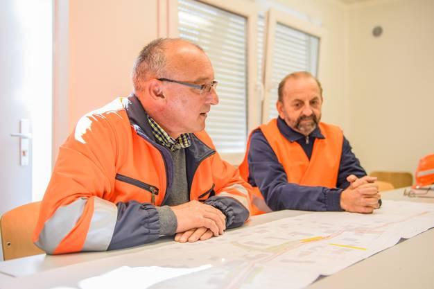 Jean-Pierre Kipfer (Geschäftsführer der EBB AG, Engineering Bahn Bau) und Daniel Nadig (Leiter Infrastruktur und Bau bei der Aare Seeland mobil)