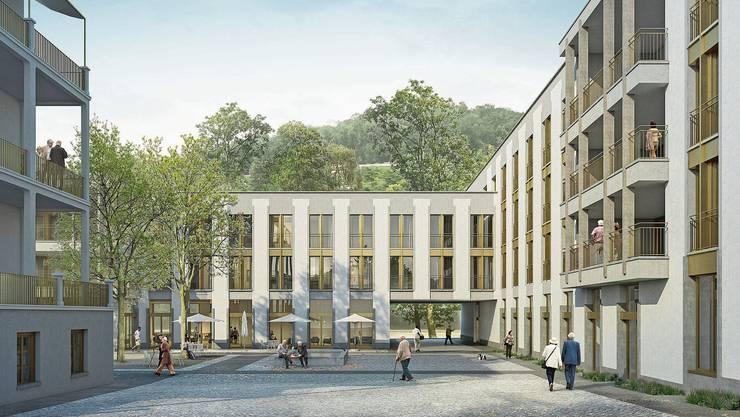 So könnte der Eingang des Regionalen Pflegezentrums Baden bald aussehen. Doch es gibt Einsprachen gegen das Projekt.