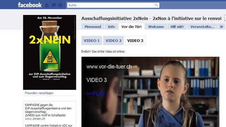 Die Facebook-Seite der Gegner der Ausschaffungsinitiative mit Video dazu.