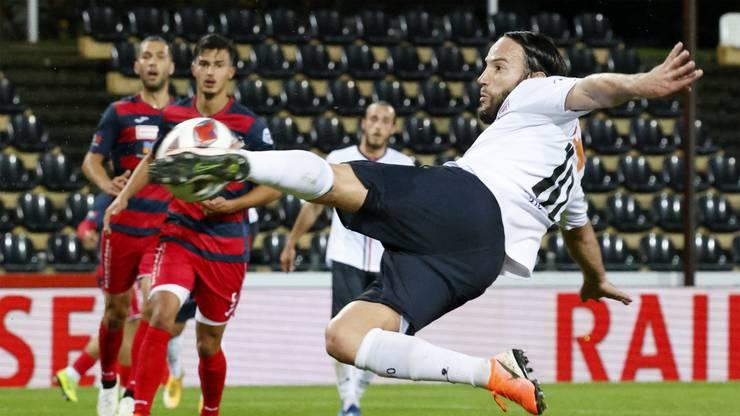 Der erste Treffer gegen Kriens verbucht Gashi spektakulär.