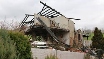 Totale Zerstörung: Durch die Wucht der Explosion wurden die Aussenwände des Einfamilienhauses komplett weggesprengt.