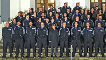 Für die Sicherheit in 22 Gemeinden zuständig: das Corps der Regionalpolizei Zofingen anlässlich des Jahresrapports im Schloss Rued.