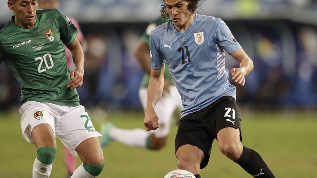 Edinson Cavani (rechts) traf beim 2:0-Sieg von Uruguay gegen Bolivien zum Endstand