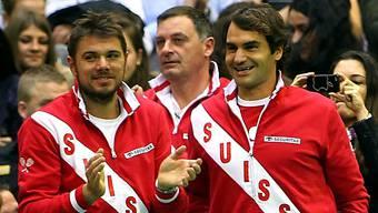 Das Duo im Viertelfinal: Roger Federer und Stanisalas Wawrinka (Archiv).