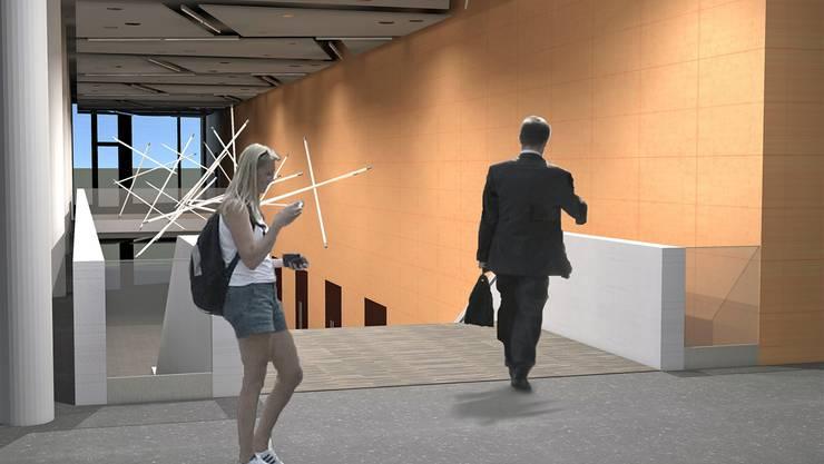 Die Visualisierungen zeigen, wie das Foyer (oben) und der Eingangsbereich dereinst aussehen werden.