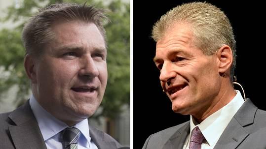 Stehen sich gegenüber: SVP-Präsident und der Präsident des Wirtschaftsdachverband Economiesuisse Heinz Karrer.