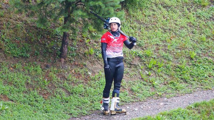 Tanja Schärer auf dem Weg zum nächsten Sprung.