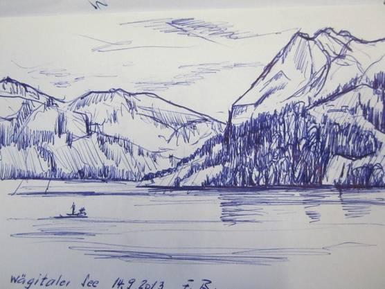 -         Zeichnung Wägitalersee (F. Burkhard-Cattaneo)