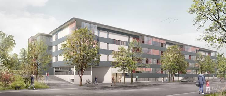 Momentan stehen auf dem Grundstück fünf Gebäude, die 44 Wohnungen umfassen. Doch diese sollen abgerissen werden und Platz machen für drei neue Gebäude, die 69 Wohnungen umfassen.
