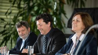 v.l.: Roland Heim (Finanzdirektor Kanton Solothurn), Urs Hammel (Chef Personalamt), Martina Zoelch (FHNW) Mitarbeitendenbefragung