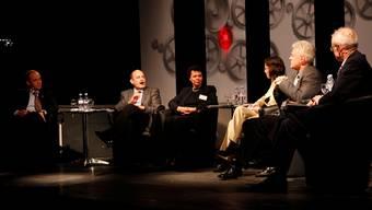 Diskussionsrunde mit Patrick Rusch, Markus Grütter, Esther Gassler, Anita Panzer, Rolf Kissling und Christian Weber (von links).  Hanspeter Bärtschi