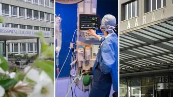 Die Spitäler in Muri, Baden und Aarau (von links) sind Teil der Aargauer Spitalliste, zusammen mit 16 weiteren Häusern.