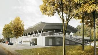 Diese Visionalisierung zeigt die geplante neue Eishalle mit Dach und eingeschossigen Bauten.