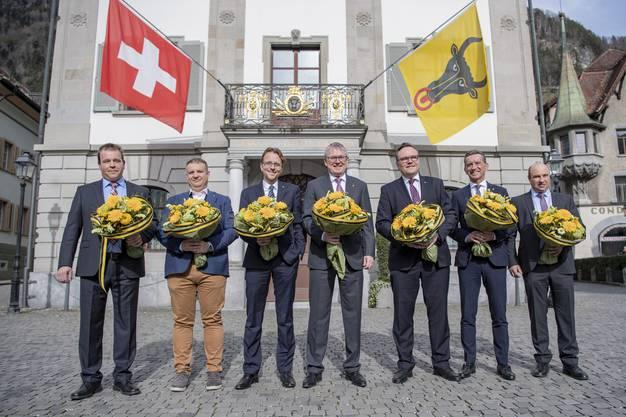 Der neue Urner Gesamtregierungsrat (von links): Christian Arnold (SVP), Dimitri Moretti (SP), Urs Janett (FDP), Urban Camenzind (CVP), Roger Nager (FDP), Beat Jörg (CVP) und Daniel Furrer (CVP).
