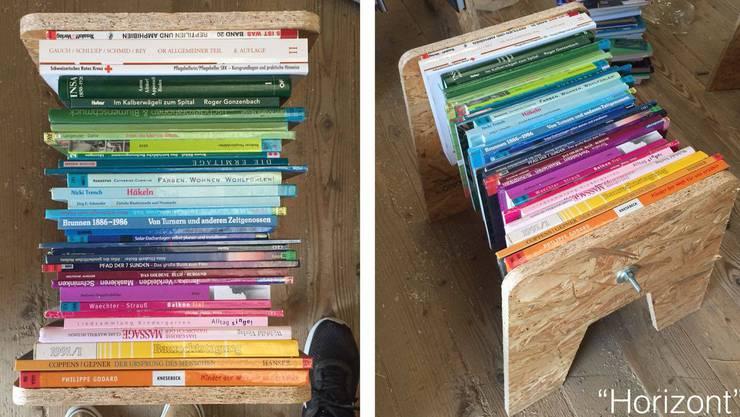 Die Bücher sind thematisch oder farblich geordnet. Hier zum Thema Horizont.
