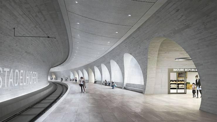 Der Raum beim vierten Stadelhofer Gleis soll einladend und hell werden. Durch den langen Zugang (rechts) verdoppelt sich die Ladenfläche. Visualisierung: SBB