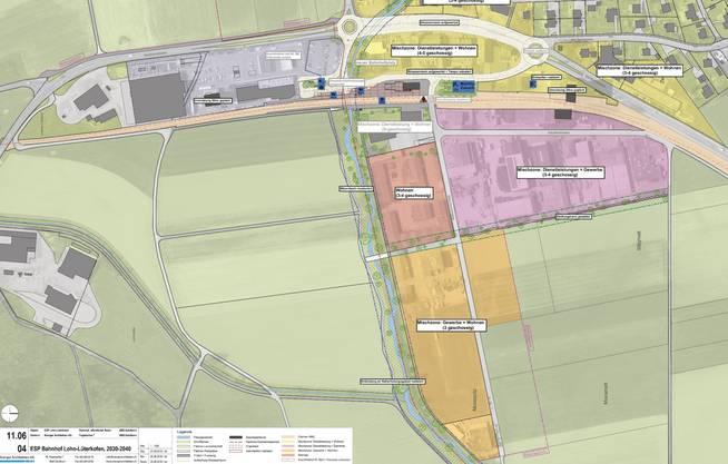 Die Planungszonen beim Bahnhof Lohn-Lüterkofen