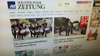 Die neue Homepage der Solothurner Zeitung ist besser strukturiert.