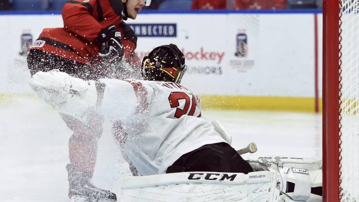 Die Schweizer, im Bild Goalie Philip Wüthrich, hatten Kanada im Viertelfinal nichts entgegenzusetzen