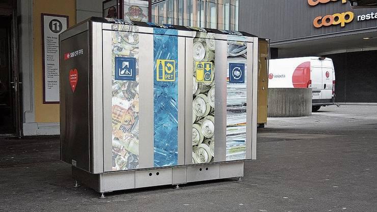 Recyclingstationen wie hier in Baden gibt es am Bahnhof Brugg nicht.
